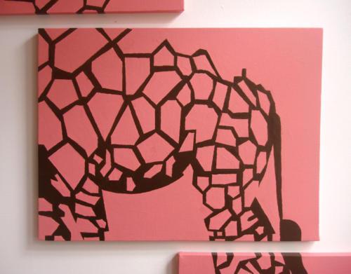 Mosaic pink giraffe wall art by Ricky Colson