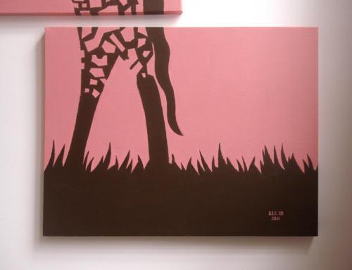 Pink giraffe mosaic wall art by Ricky Colson