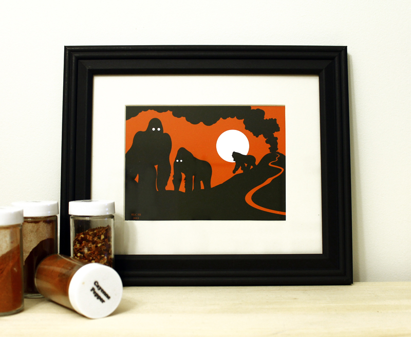 Gorilla orange and black framed art print for sale by Ricky Colson