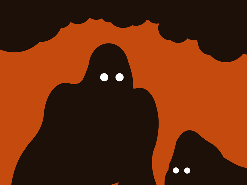 Gorilla orange and black silhouette art print for sale by Ricky Colson