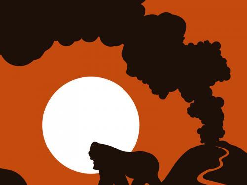 Gorilla orange sun African art print for sale by Ricky Colson