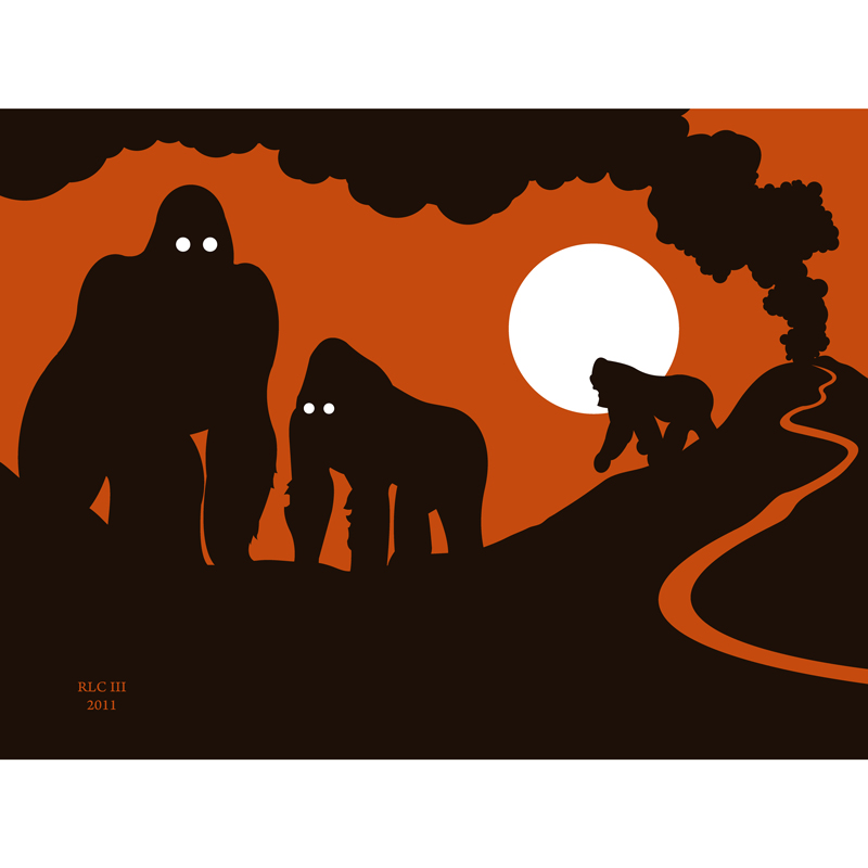 Gorilla orange and black volcano silhouette art print for sale by Ricky Colson