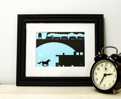 Horse train blue black framed art print for sale by Ricky Colson