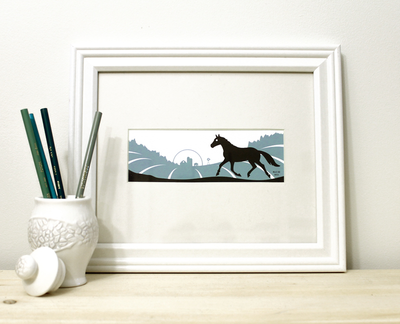Horse blue and black framed art print for sale by Ricky Colson