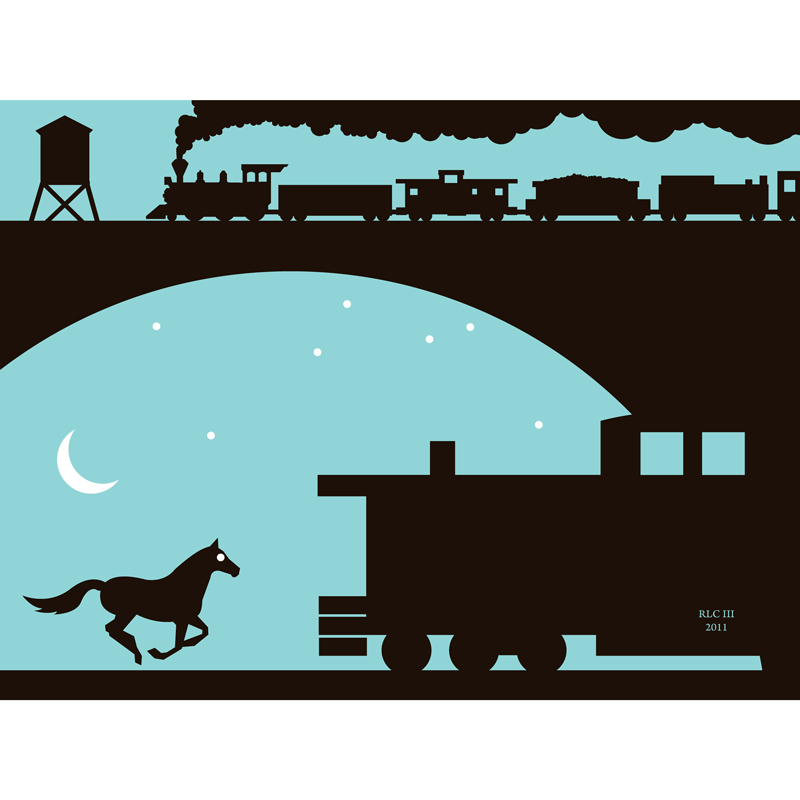 Horse and moon turquoise black silhouette art print for sale by Ricky Colson