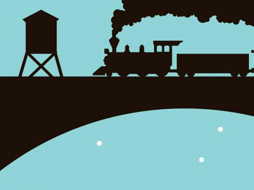 Train kids black blue silhouette art print for sale by Ricky Colson