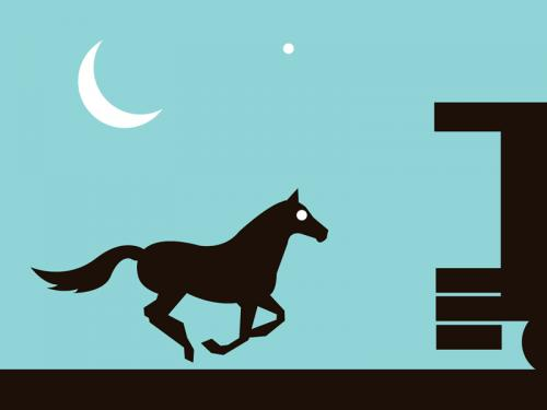Horse moon black baby blue silhouette art print for sale by Ricky Colson
