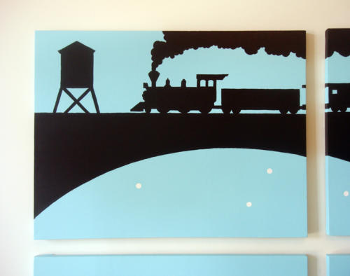 Boys train wall art for sale by Ricky Colson