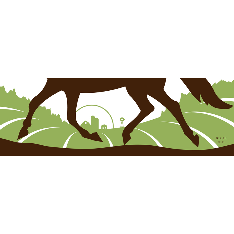 Galloping green horse silhouette design by Ricky Colson