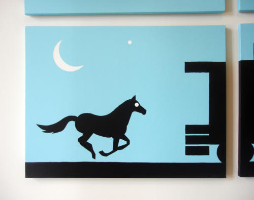Blue horse and moon silhouette wall art by Ricky Colson