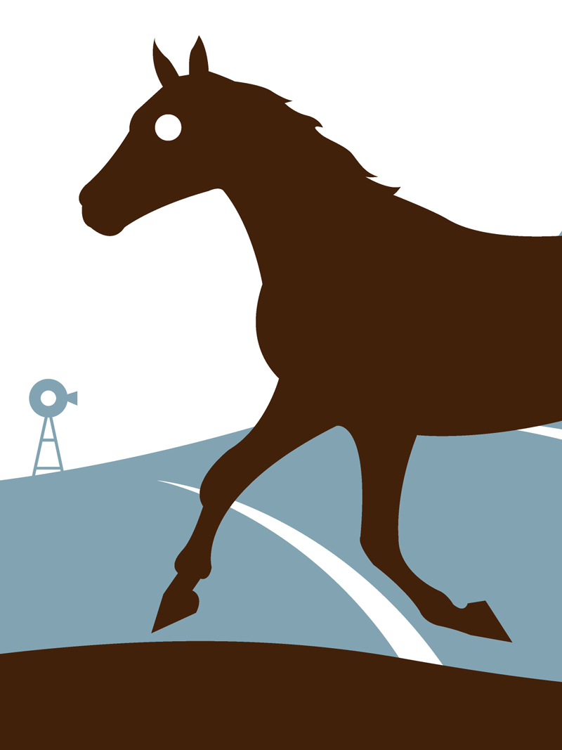 Horse animal portrait silhouette art print by Ricky Colson