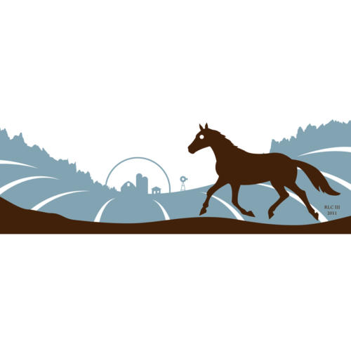Horse blue and black galloping modern silhouette art print for sale by Ricky Colson