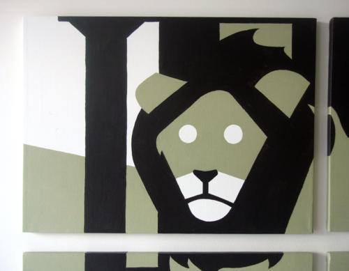 Green and black lion portrait wall art by Ricky Colson
