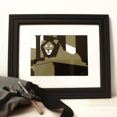 Lion green black framed art print modern for sale by Ricky Colson