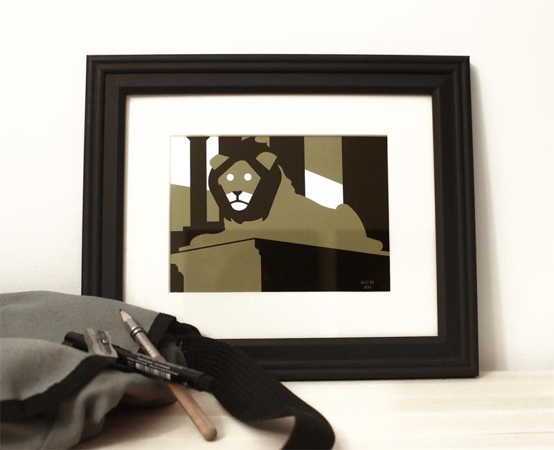 Lion green black framed art print modern for sale by Ricky Colson