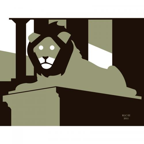 Lion statue green black and white abstract silhouette art print for sale by Ricky Colson