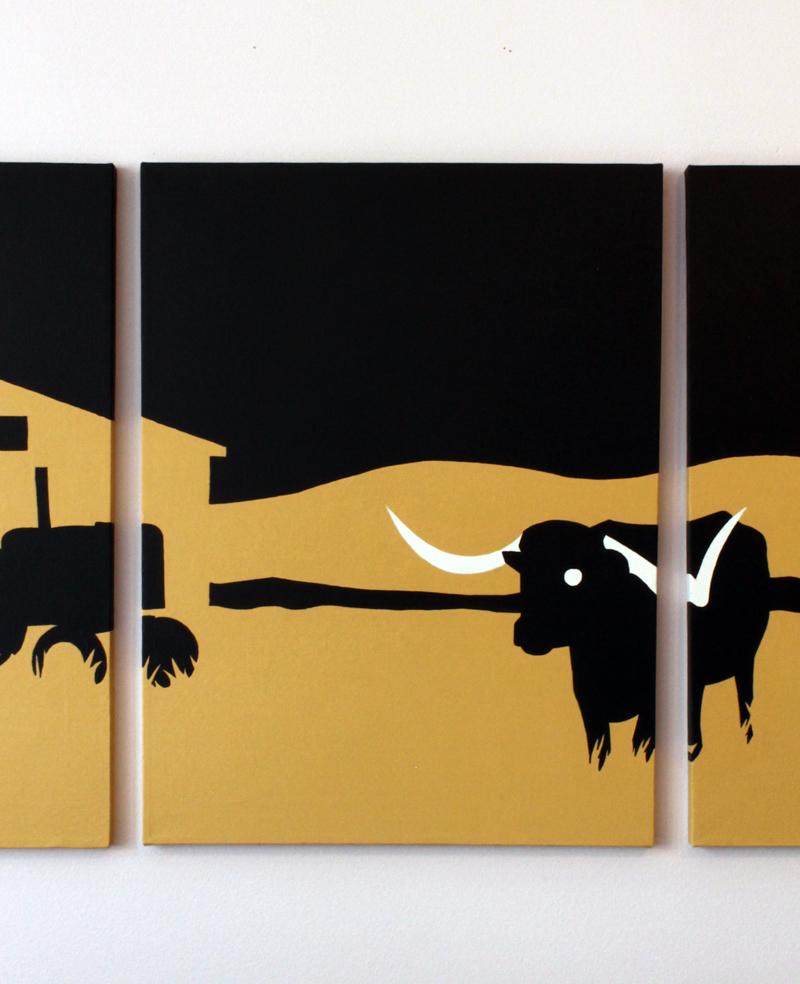 Texas steer modern wall art for sale by Ricky Colson