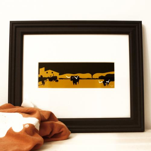 Texas longhorn burnt orange framed art print for sale by Ricky Colson