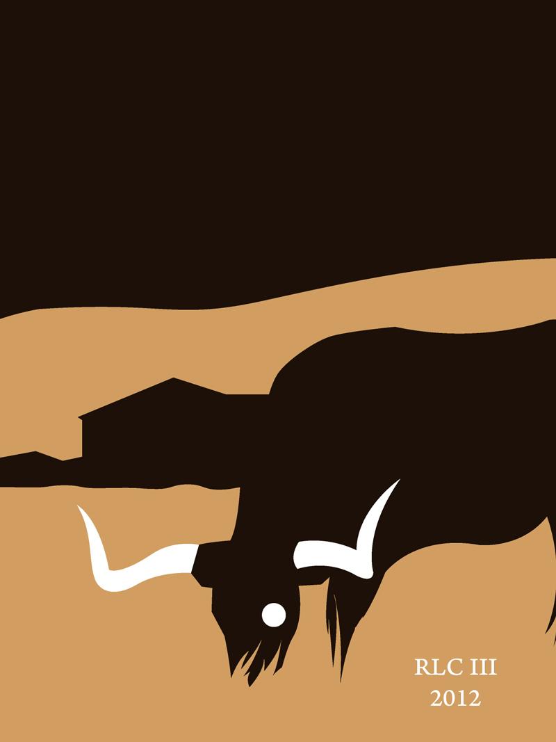 Texas longhorn burnt orange modern silhouette design art print for sale by Ricky Colson