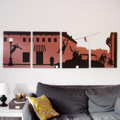 Monkey red and black modern silhouette painting for sale by Ricky Colson
