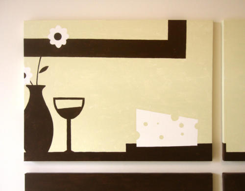 Wine cheese and flowers modern wall art by Ricky Colson