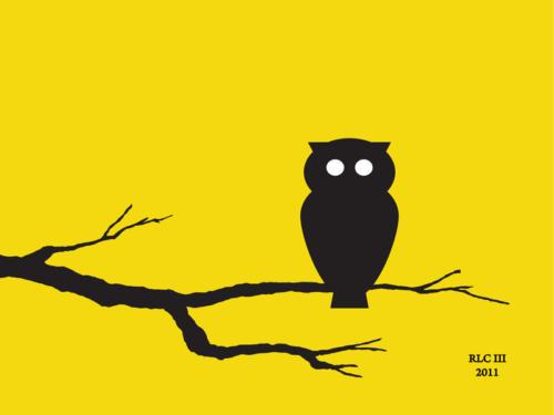 Yellow owl modern silhouette design art print by Ricky Colson