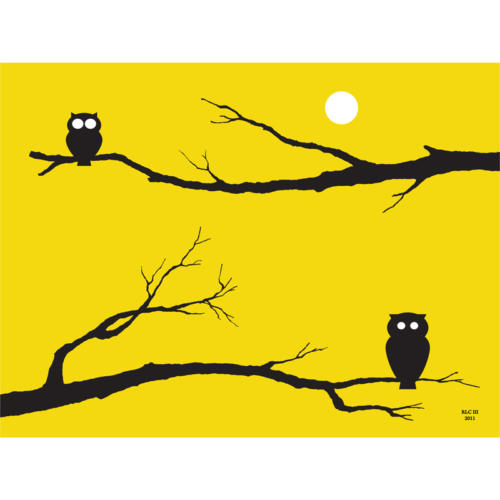 Yellow owl art print for sale by Ricky Colson