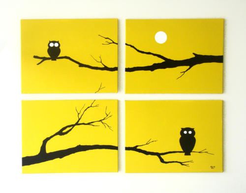 Yellow owl silhouette painting for sale by Ricky Colson
