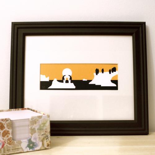 Penguins framed art print black and orange modern design for sale by Ricky Colson