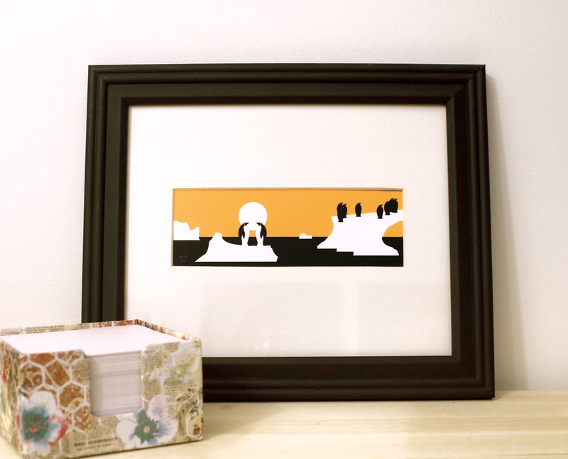 Penguins framed art print black and orange modern design for sale by Ricky Colson