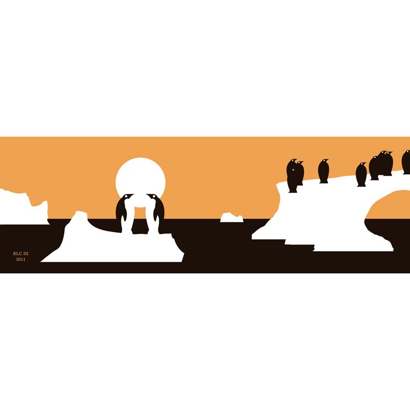 Penguin kissing black and orange iceberg silhouette design for sale by Ricky Colson