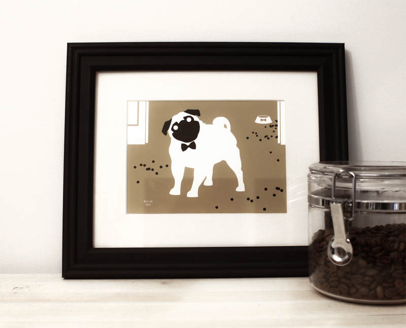 Pug dog with bow tie framed art print for sale by Ricky Colson