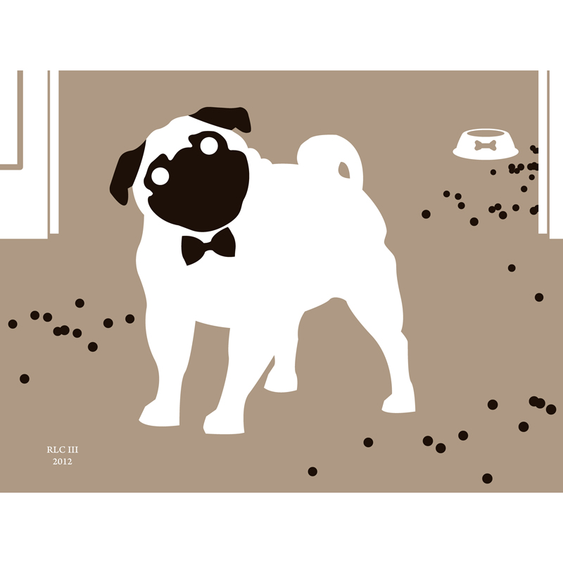 Pug dog with black white bow tie modern silhouette art print for sale by Ricky Colson