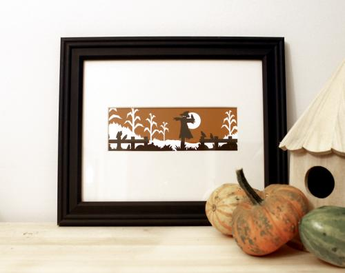 Halloween scarecrow framed art print autumn silhouette design for sale by Ricky Colson
