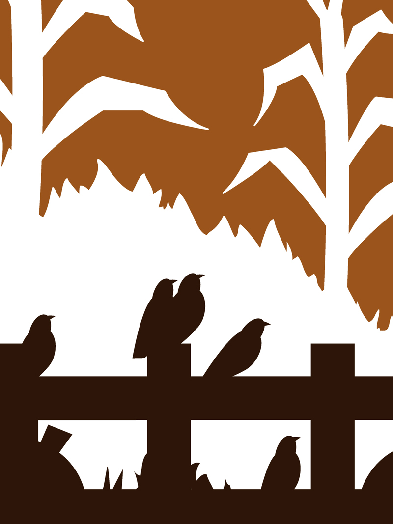 Crows on fence silhouette design for sale by Ricky Colson