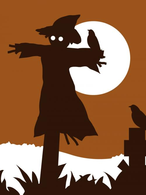 Scarecrow halloween moon silhouette design for sale by Ricky Colson