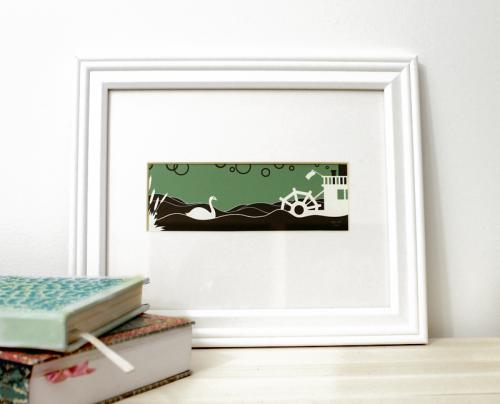 swan white and green framed fine art print for sale by Ricky Colson
