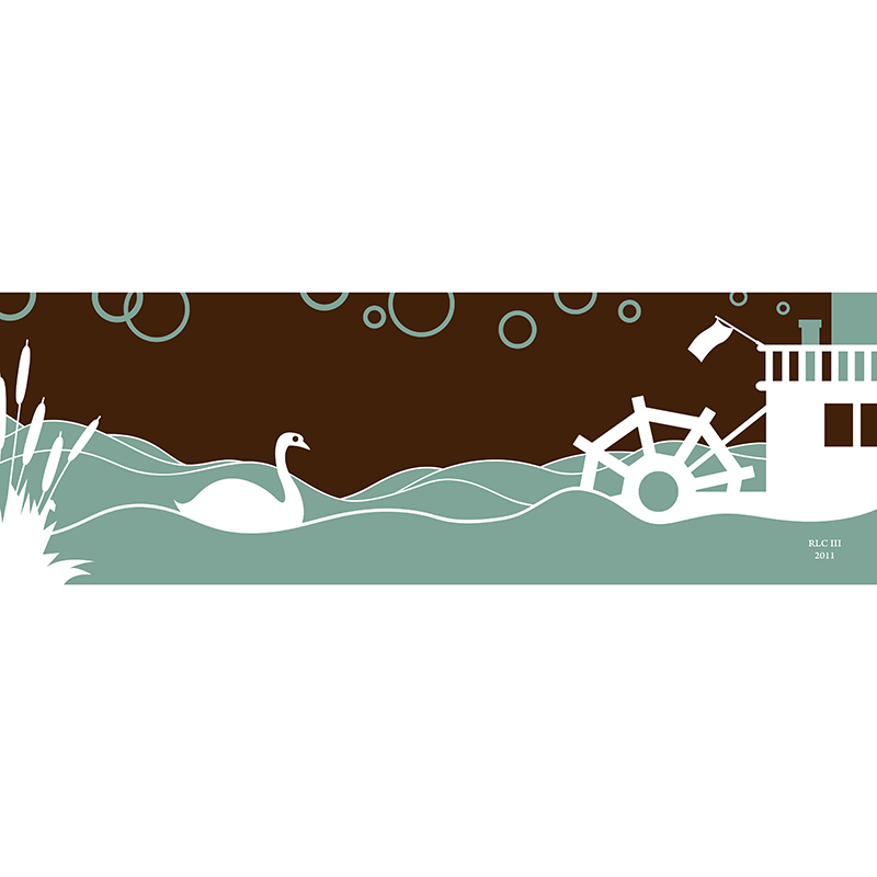 swan ferry green white art print modern silhouette design for sale by Ricky Colson