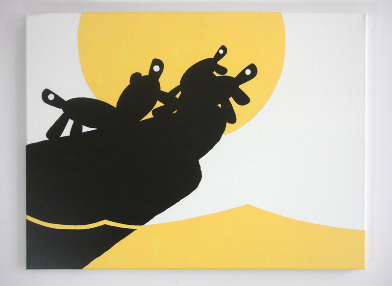 Black turtles under yellow sun graphic modern wall art for sale by Ricky Colson
