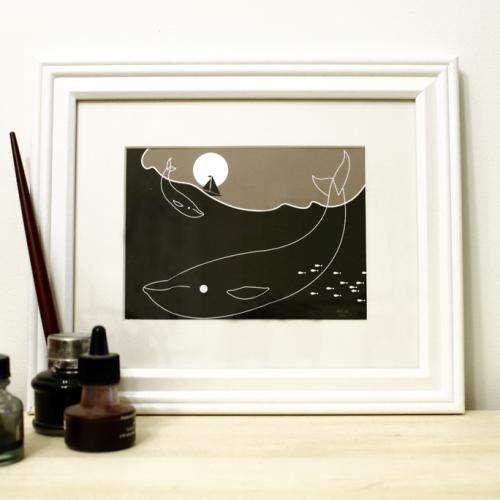 whale and boat framed art print for sale modern silhouette design by Ricky Colson
