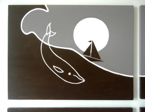 Baby whale and sea moon boat wall art by Ricky Colson