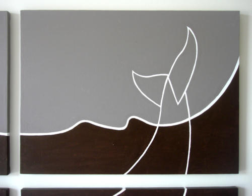 Whale tail abstract gray painting by Ricky Colson