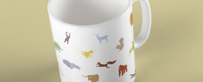 color animal mug