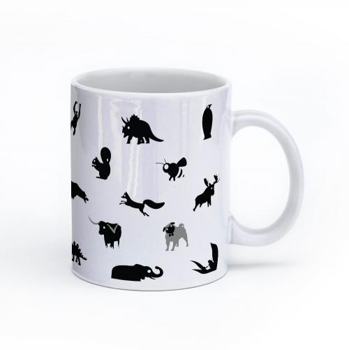 animal mug 11oz black and white right