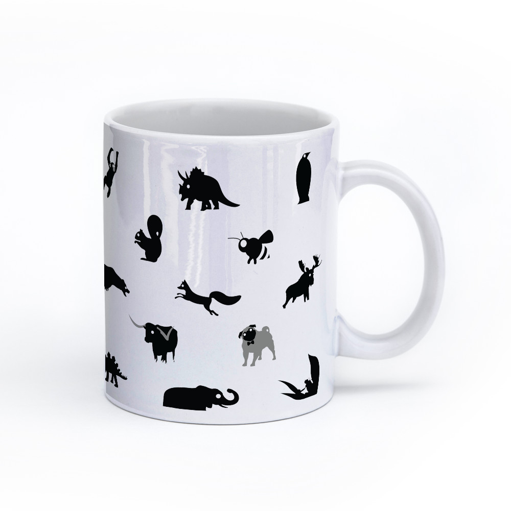 animal mug 11oz black and white right