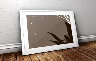 frog print inside large frame