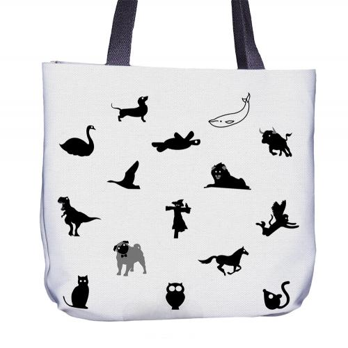 Animal Black Tote Bag Front