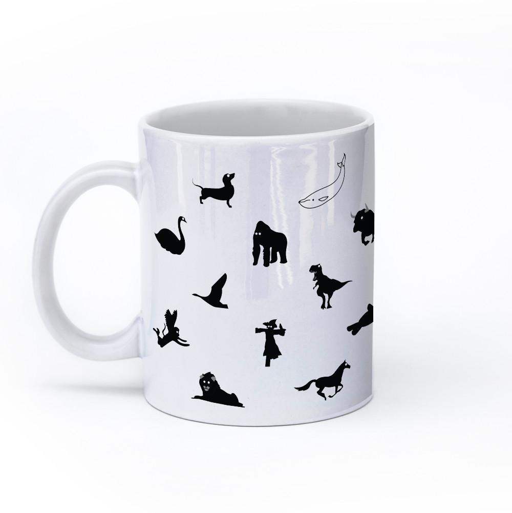animal mug 11oz black and white left